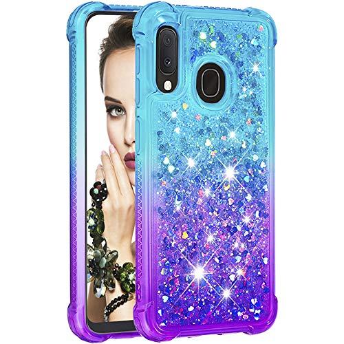 Silikonhülle für Samsung Galaxy A20e Smartphone Schutzhülle Handyhülle TPU Silikon verstärkte Ecken erhöhte Kanten Glitzer Flüssigkeit Stoßdämpfend Schutzhülle Hülle für Samsung Galaxy A20e