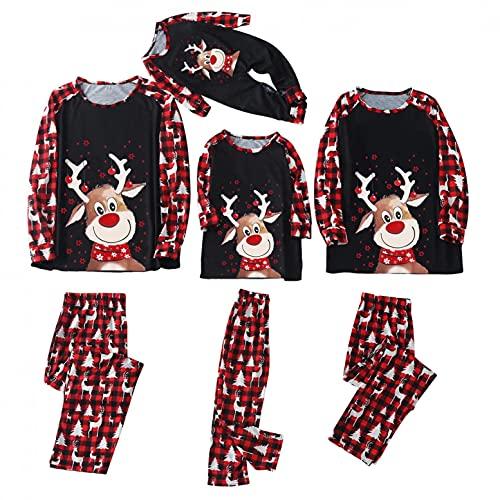 Pijamas navideños para Familia Conjunto de Pijamas Camiseta superior Suaves y duraderos reno para Hombre Mujer Niños Niña Chica Bebe Ropa para padres e hijos Otoño Invierno Ropa de Dormir
