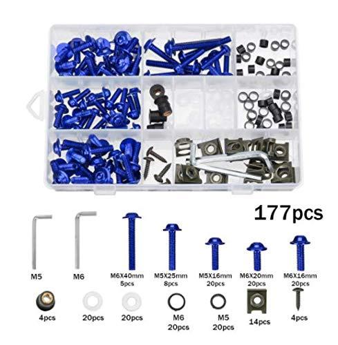 Alamor 177 Piezas del Kit De Tornillos De Carenado De Motocicleta Tuercas Tornillos Clips para Honda/Yamaha/Kawasaki/Suzuki - Azul