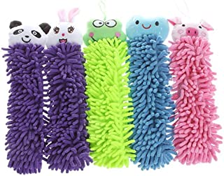 Kitchen Chenille Fiber Hand Towel Clean Absorbent Cloth, Dry Your Hands Quickly, 5 In 1 set(Cute Smiling Face Blue,Cute Cartoon Rabbit Purple,Cute Cartoon Pig Pink,Cute Cartoon Panda Purple,Cute Cart