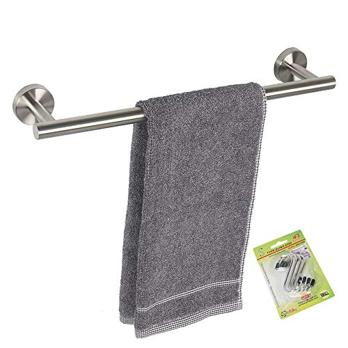 TocTen Bath Towel Bar - Thicken SUS304 Stainless Steel Towel Rack for Bathroom with 4 S Hooks, Bathroom Accessories Towel Rod Heavy Duty Wall Mounted Towel Holder (16IN, Brushed Nickel)