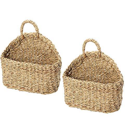 KEISL - Set di 2 cestini per fiori da appendere, in rattan intrecciato, per piante da interni ed esterni