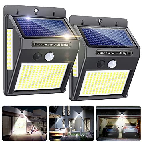 Luz Solar Exterior 2 Pack 216 LED,Innosinpo【2021 Ultimo Modelo】Focos Solares Exterior con Sensor de Movimiento,Luces LED Solares Exteriores 300º Iluminación,Impermeable Lampara Solar para Garaje,Patio