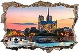 Pegatinas de pared Murales Notre Dame De Paris extraíble agujero rasgado decoración papel tapiz Pvc arte guardería obra de arte guardería decoración de pared - 60x90cm