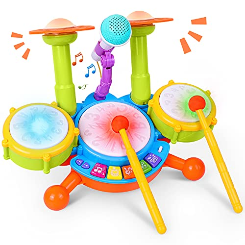 Rabing Kids Drum Set, Electric Musical Instruments Toys with 2 Drum Sticks, Beats...
