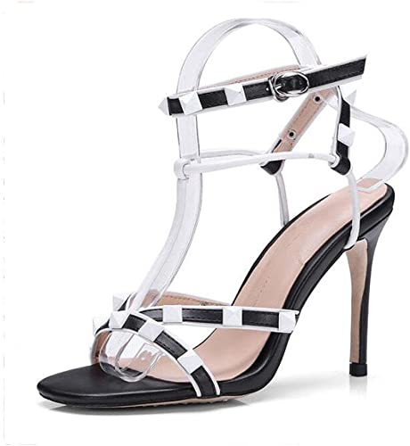 HIGHXE HIGHXE Femmes Les Les dames Rivet T-Ceinture Fine Sandales à Talons Hauts Printemps Et été Nouvelles Chaussures Taille  vente en ligne