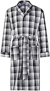 Mens Cotton Blend Lightweight Robe - Long Sleeve Premium Sleep & Morning Robe