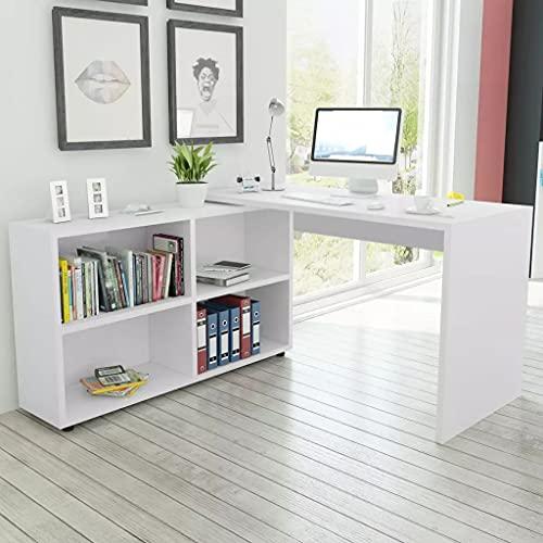 LINWXONGQP Material: Madera aglomerada Escritorio de Esquina 4 estantes Blanco