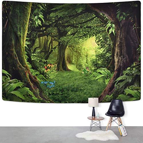 Tapiz con impresión 3D de bosque verde virgen y hierba tapiz de árbol de la naturaleza para colgar en la pared para habitación