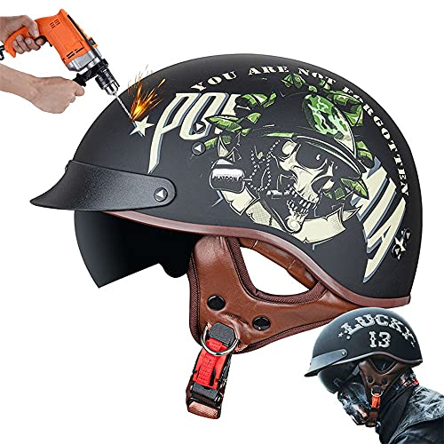 CNNGU Motorrad Helm,Retro Stil Motorradhelm,Halbhelm,DOT/ECE-Zertifizierung, Mit Sonnenbrille, Geeignet Für Den Einsatz In Vier Jahreszeiten, ABS-Helmkörper, Herausnehmbares Innenfutter