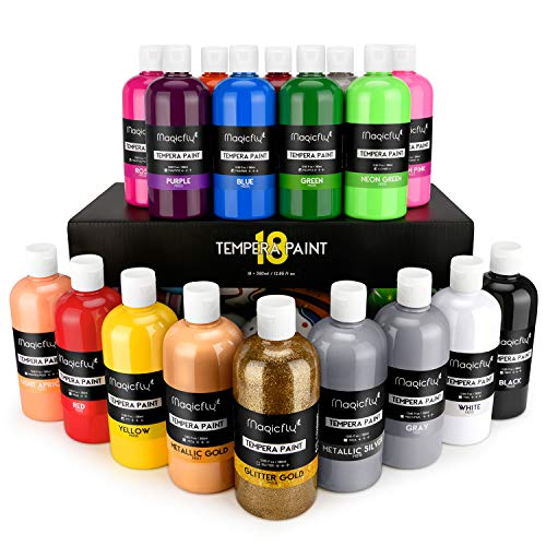 Magicfly 18 Colors Tempera Paint Set for Kids, Large Volume, Non-Toxic Washable Color (Basic, Neon, Glitter, Metallic Colors), Perfect for Finger Paint, Sponge and Poster Paint(12.85 fl oz./380 ml)