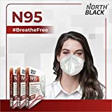 NORTH BLACK N95 Face Mask   5 Layer Filter & Respiratory Valve   Anti Dust, Droplets   Breathable Reusable Disposable   For Men Women Professionals (Pack of 3)
