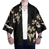 MIAOML Hombres Kimono Cárdigan Japonesa Informal Chaqueta Lino Abrigo Corto,H-M