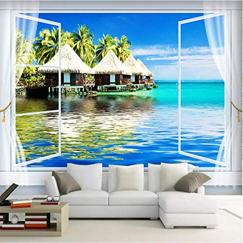 Fotomurales papel de pared 3d Ventana junto al mar no tejido moderna Fotográfico Diseno TV Fondo grandes salones Hogar decorativos -350X250 cm (137 * 98 pulgadas)