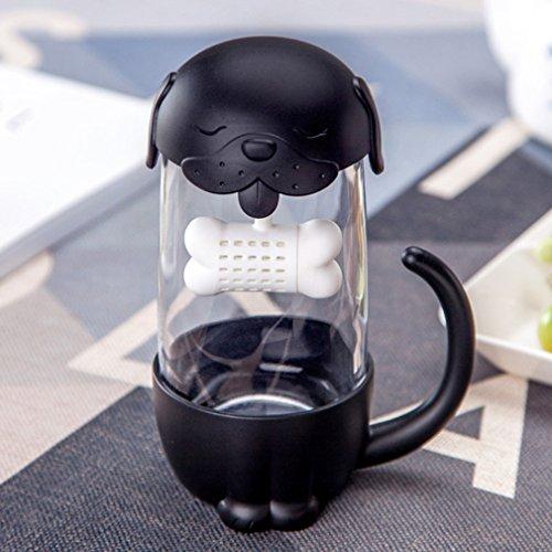 Mcgreen Creative Tea Infuser Cup with Lid Cute Dog Strainer Travel Coffee Mug