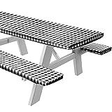 Sorfey Mantel de vinilo para mesa y banco, diseño a cuadros, forro de franela, 30 x 60 pulgadas, juego de 3 piezas, color negro