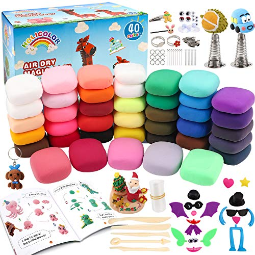 HOLICOLOR Air Dry Clay 40 Colors Magic Clay Modeling Clay for Kids, Arts and Crafts for Kids Air Dry Clay Kit with Project Book, Sculpting Tools and Accessories