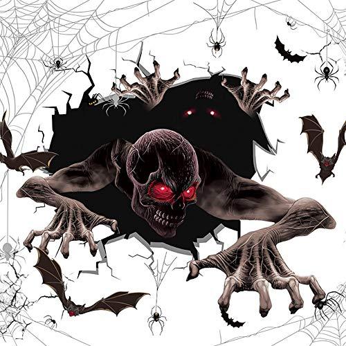 Lumanuby 1x Schrecklich Geister klettern von der Zerbrochenen Wand herein 3D Aufkleber asu Abnehmbar PVC Spinne und Fledermäuse Wandbilder für Halloween, 50x60cm, Wandtattoo Serie