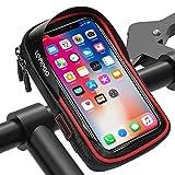 LEMEGO Bolsa Bicicleta Manillar para Ciclista Ciclismo, Bolso de Bici Impermeables Soporte Móvil teléfono para teléfonos móviles Inferior de 6 Inches (Rojo)