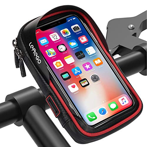 LEMEGO Waterproof Bike Phone Mount Holder Pouch Bag,Universal Bicycle Rear Handlebar Pouch with Water Resistant Frame Transparent Touchable 360 Degrees Rotatable For Under 6 Inchs Smartphone(Red)
