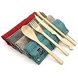 Jungle Culture | Set de cubiertos de bambú | Cubiertos de viaje de bambú ecológicos | Utensilios de madera reutilizables para cubiertos | Libre de plástico | Cuchillo de bambú Tenedor Cuchara