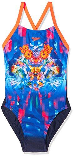 Speedo garçon Dreamscape Fusion Placement Digital à dos croisé Maillot de bain femme , Navy/Fluo Orange/Turquoise , 116