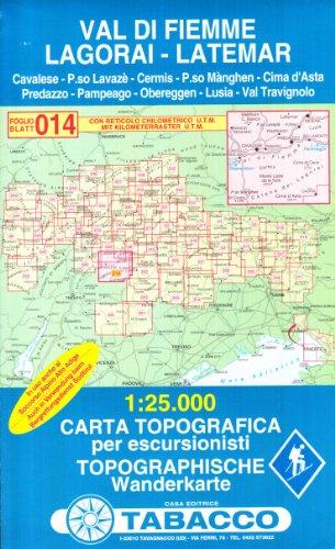 Fleimstal, Lagorai, Latemar: Wanderkarte Tabacco 014. 1:25000 (CARTES TOPOGRAHIQ - 1/25.000)