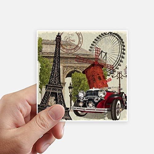 DIYthinker Oude Auto Frankrijk Eiffeltoren Vierkante Stickers 10 Cm Muur koffer Laptop Motobike Decal 8 Stks