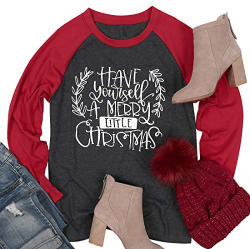 Have Yourself A Merry Little Christmas Baseball Tshirt Womens Long Sleeve Raglan Holiday Tees Top Size XL (Red)