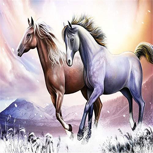 Rompecabezas para adultos, dos caballos en la nieve, 1000 piezas, rompecabezas de madera, juguete de descompresin para adultos y nios