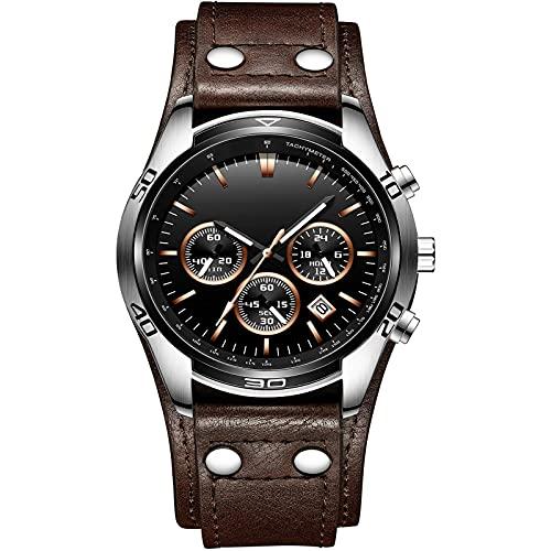 ML S HJDY Reloj De Cuarzo para Hombre Calendario Impermeable Reloj De Negocios De Moda De Tres Ojos Reloj Analógico Casual para Hombre Correa De Cuero,Brown with Black dial