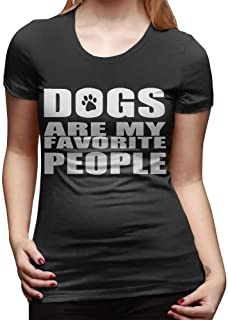 Cotyou-6 Women's Short Sleeve Round Neck Tshirts Dogs are My Favorite People Printing Tees
