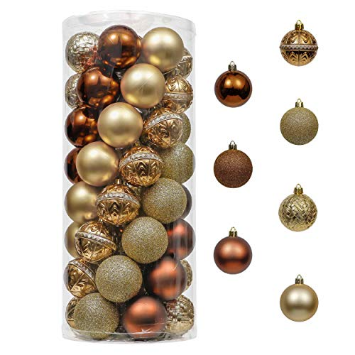 Valery Madelyn 50ct 60mm Woodland Copper Gold Christmas Ball Ornaments, Shatterproof Christmas Tree Ornaments Decoration, Themed with Tree Skirt (Not Included)