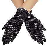 Summer Women Dots Sun Uv Protection Outdoor Cotton Driving Gloves,Black