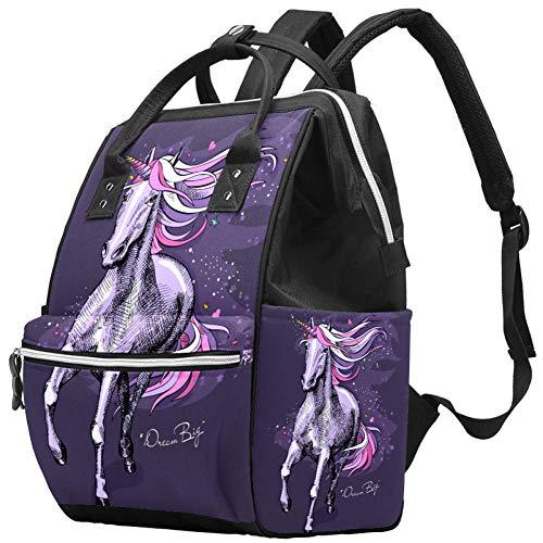 TIZORAX Running Unicorn Horse grote capaciteit luiers rugzak baby wikkeltas rugzak reistas voor moeders vaders