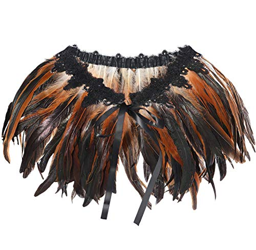 L'VOW Women's Gothic Feather Shawl Cape Halloween Shrug Poncho Collar Brown (Brown)