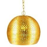 Lámpara Oriental Marroquí - lamparilla colgante - farola de techo Herera Dorado - 30cm - muy práctica para una iluminación excelente - transmite una decoración excelente refinada