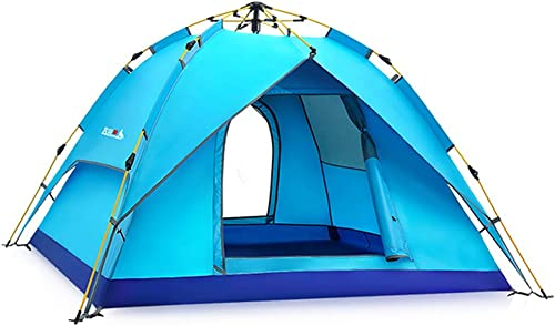 Épais Double 3-4 Portable Léger Imperméable Coupe-Vent Famille Camping Plage Tente en Plein Air Pop-Up