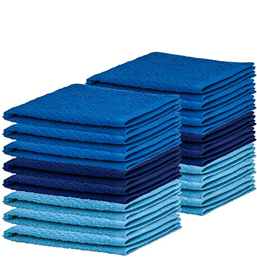 DecorRack 16 Pack Kitchen Dish Towels, 100% Cotton Wash Cloth, Luxurious Soft, 12x12 inch Ultra Absorbent, Machine Washable Washcloths, Blue (16 Pack)