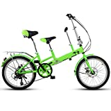 YUMEIGE Kids' Bikes 20 Inch Bicycle, Mother and Child Tandem Folding Shifting Disc Brake Fence...