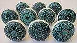 10 tiradores vintage de cerámica con distintos diseños de flores, ideales para...