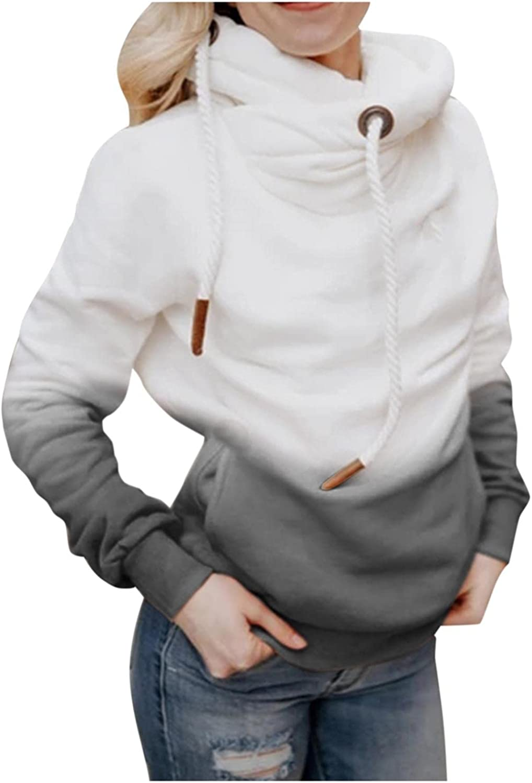 COMVALUE Womens Hoodies,Womens Pullover Sweatshirts Gradient Pocket Long Sleeve Drawstring Casual Sport Tops
