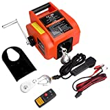 Cygrd Portable Trailer Winch, Reversible Electric Winch 12V DC, Power-in, Power-out and Freewheel Operations for Boats Up to 6000 lbs with Wireless Remote Control and Hand Crank