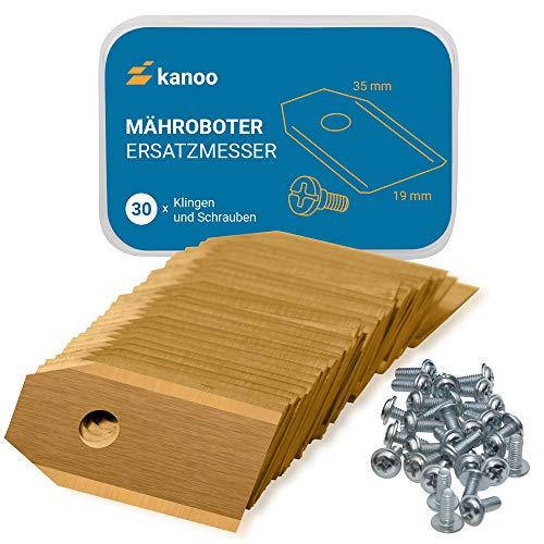 Mähroboter Klingen, 30x Titan Ersatzmesser für Gardena / Husqvarna Automower - Premium Mähroboter Messer (0,75mm - 3g) Rasenmäher Roboter Ersatzklingen mit verbessertem Konzept
