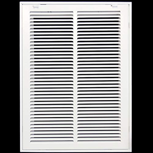 14' X 10 Steel Return Air Filter Grille for 1' Filter - Fixed Hinged - Ceiling Recommended - HVAC Duct Cover - Flat Stamped Face - White [Outer Dimensions: 16.5 X 11.75]