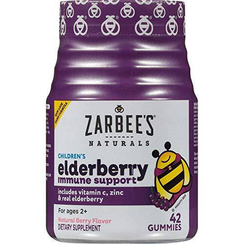 Zarbee's Naturals Children's Elderberry Immune Support* Gummies with Vitamin C, Zinc, Natural Berry Flavor, 42 Count 2 Pack