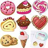 Set de Tarjetas de San Valentín para Niños con 32 Sobres y 32 Pegatinas de Prima, 8 Diferentes Tarjetas de Intercambio de Saludo de Diseño Lindo de Comida para Escuela San Valentín Fiesta de Niños