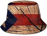 Bandera de textura de madera Puerto Rico cubo con estampado unisex Sombreros de pescador pesca plegable reversible de verano Mujeres Hombres Sombrero para el sol al aire libre Viaje Playa Campamento