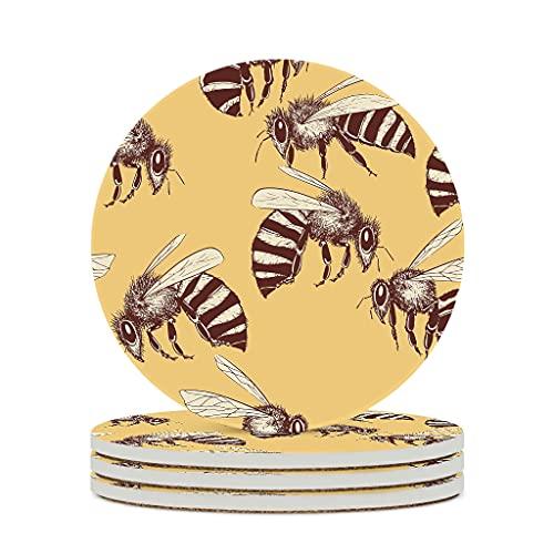 KittyliNO5 Posavasos redondos de cerámica con diseño de dibujos animados, animales, abeja, juego de 4/6 posavasos con parte trasera de corcho, para tazas, mesa, bar, cristal, blanco, 4 unidades