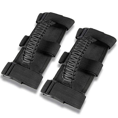 JUSTTOP Black Car Roll Bar Grab Handles Grip Handle Fit for Jeep Wrangler YJ TJ JK JL & Gladiator JT 1987-2020 with 3 Straps and Woven Handle(2 PCS)